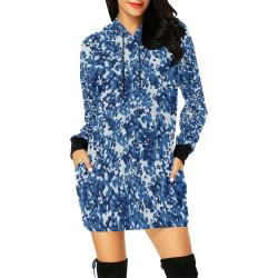 Digital Blue Camouflage All Over Print Hoodie Mini Dress (Model H27)