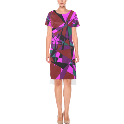 Abstract #13 2020 Short Sleeves Casual Dress(Model D14)