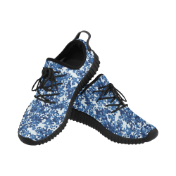 Digital Blue Camouflage Grus Women's Breathable Woven Running Shoes (Model 022)