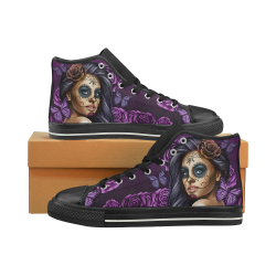Calavera Violet Black Women's Classic High Top Canvas Shoes (Model 017)