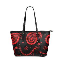 rojo y negro Leather Tote Bag/Small (Model 1640)