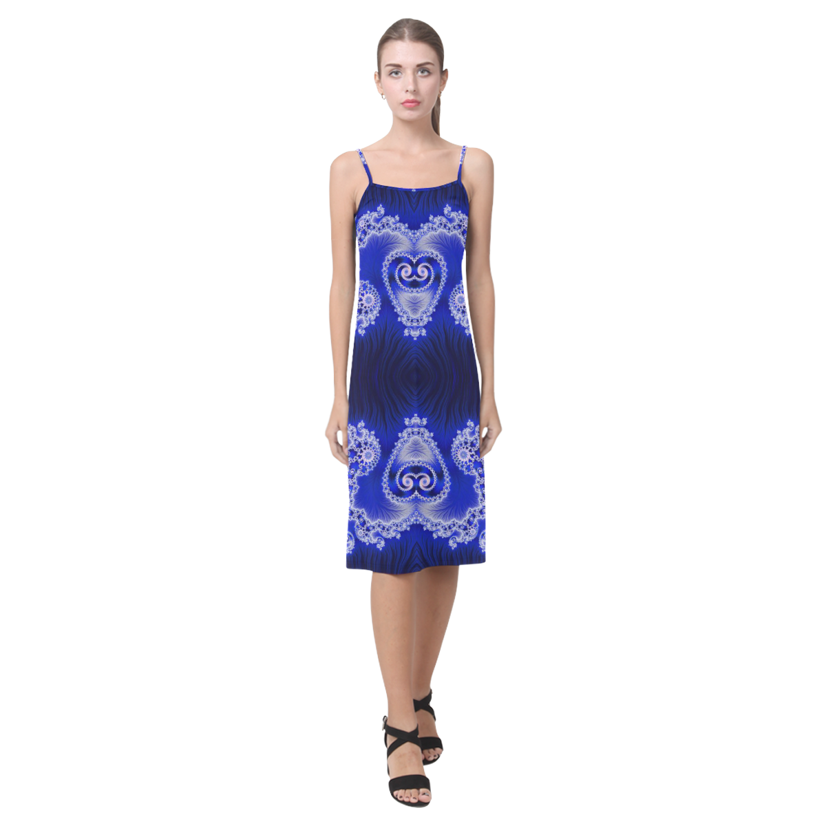 Blue and White Hearts  Lace Fractal Abstract Alcestis Slip Dress (Model D05)