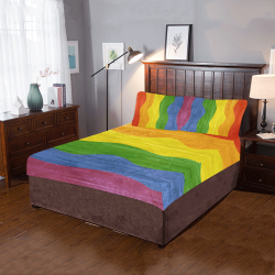 Gay Pride - Rainbow Flag Waves Stripes 3 3-Piece Bedding Set