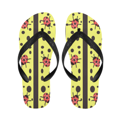 Laser Lemon Ladybugs Flip Flops for Men/Women (Model 040)