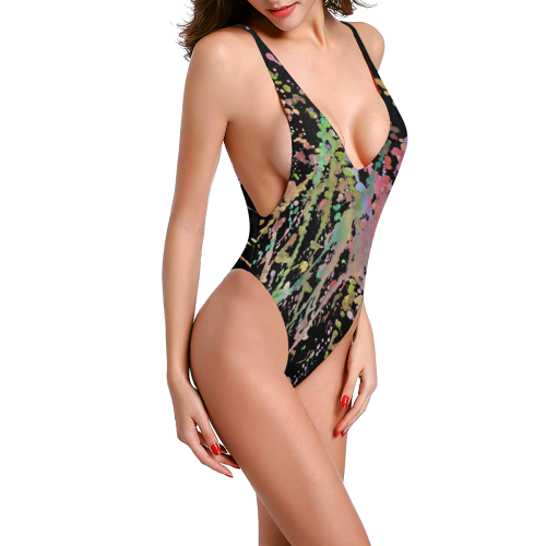 WATERCOLOR SPLASHES Sexy Low Back One-Piece Swimsuit (Model S09)