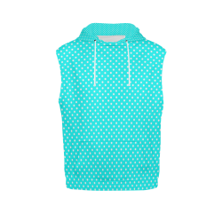 Baby blue polka dots All Over Print Sleeveless Hoodie for Women (Model H15)