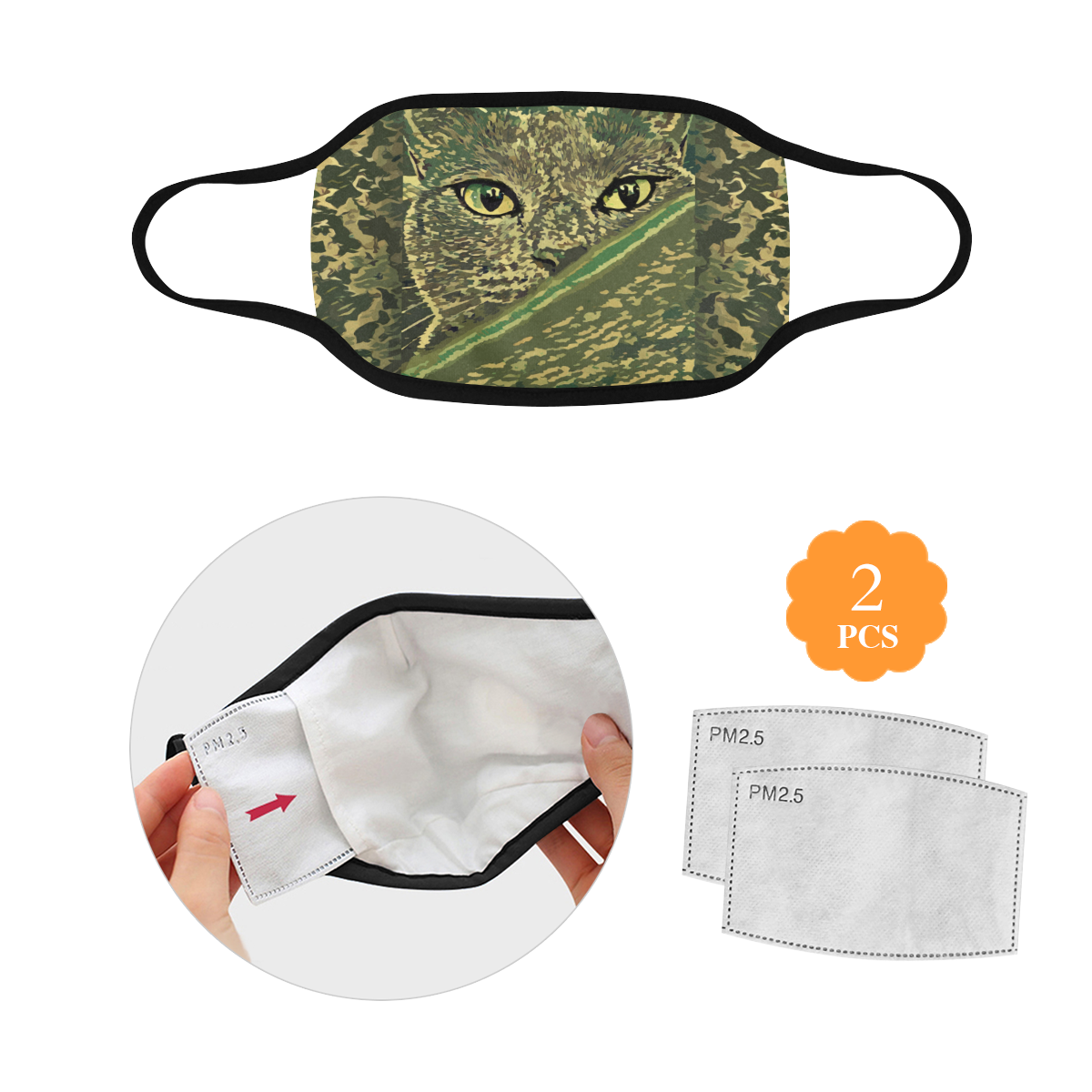 CAT CAMOUFLAGE 3D MASK Mouth Mask in One Piece (2 Filters Included) (Model M02) (Non-medical Products)