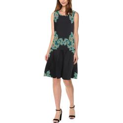 Aqua and Black  Hearts Lace Fractal Abstract Sleeveless Splicing Shift Dress(Model D17)