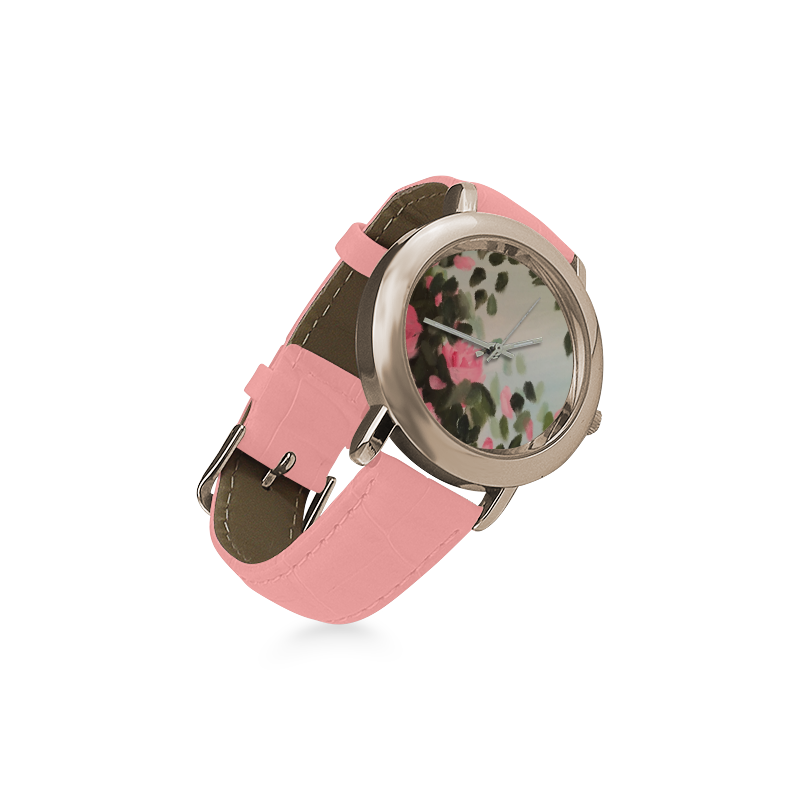 Roses & Bushes - Women's Rose Gold Leather Strap Watch(Model 201)