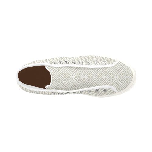 White 3D Geometric Pattern Vancouver H Men's Canvas Shoes (1013-1)