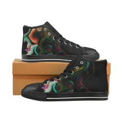 ink marble Women's Classic High Top Canvas Shoes (Model 017)