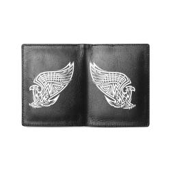 cartera de hombre de piel con diseño de aguila Men's Leather Wallet (Model 1612)