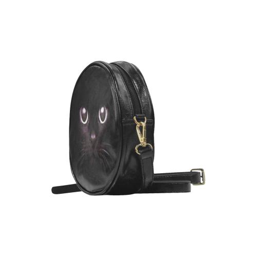 Black Cat Magic Wicca Darkstar Round Sling Bag (Model 1647)