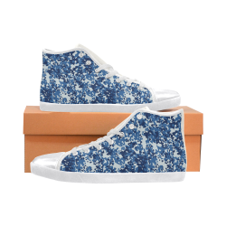 Digital Blue Camouflage High Top Canvas Kid's Shoes (Model 002)