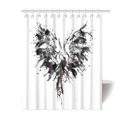 "Phoenix - Abstract Painting Bird Black 1 Shower Curtain 60""x72"""