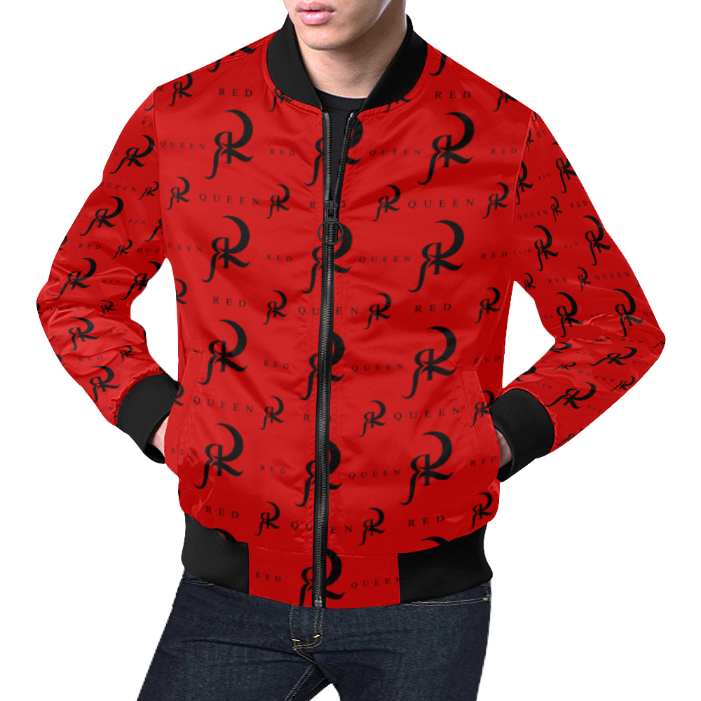 RED QUEEN ALL OVER LOGO PATTERN PRINT RED & BLACK All Over Print Bomber Jacket for Men (Model H19)