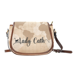 Lady Cath Logo World Map Saddle Bag/Small (Model 1649) Full Customization