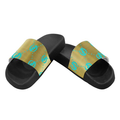OG LCC GOLD TURQUOISE Women's Slide Sandals (Model 057)