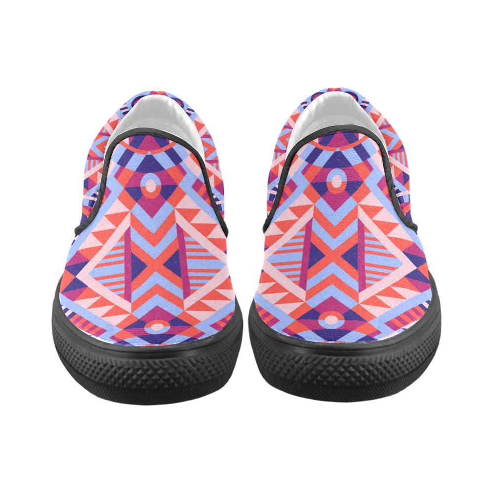 Modern Geometric Pattern Men's Unusual Slip-on Canvas Shoes (Model 019)