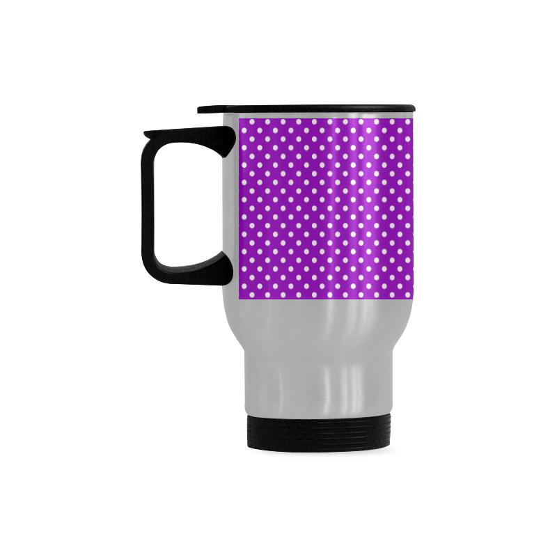 Lavander polka dots Travel Mug (Silver) (14 Oz)