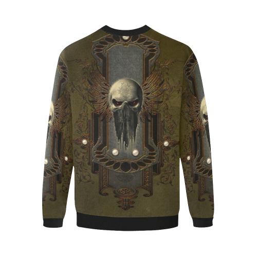 Awesome dark skull Men's Oversized Fleece Crew Sweatshirt/Large Size(Model H18)