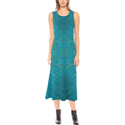spiritual sun is raising  peace of mind sea Phaedra Sleeveless Open Fork Long Dress (Model D08)