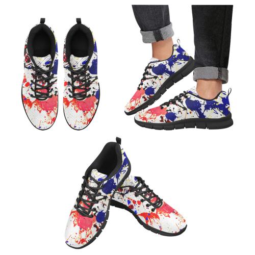 Blue & Red Paint Splatter - Black Men's Breathable Running Shoes (Model 055)