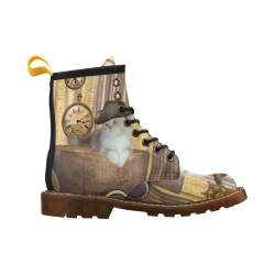 Funny steampunk cat High Grade PU Leather Martin Boots For Men Model 402H