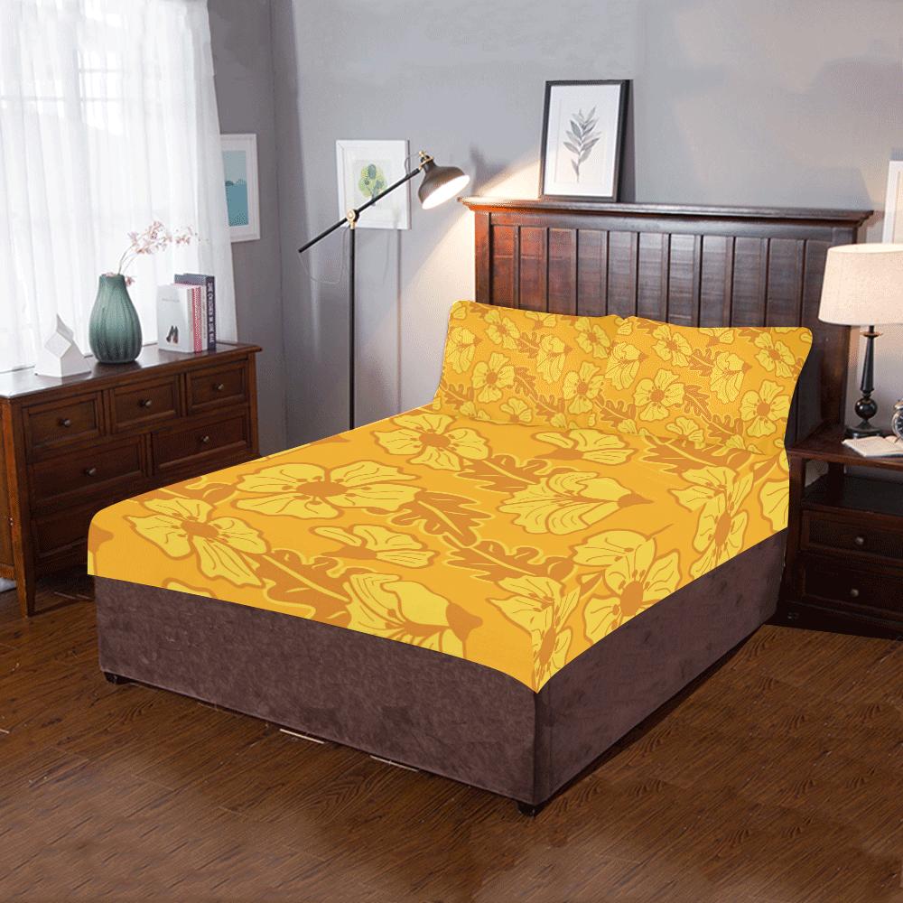 Yellow flowers 3-Piece Bedding Set