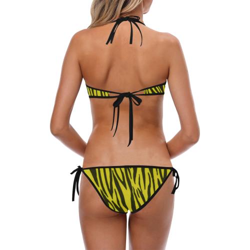 Yellow Zebra Pattern Custom Halter & Side Tie Bikini Swimsuit (Model S06)