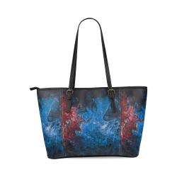 Alien Swirl Blue Red Tote Handbag. Leather Tote Bag/Large (Model 1640)