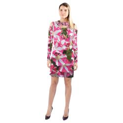 Floral Dress Cold Shoulder Long Sleeve Dress (Model D37)