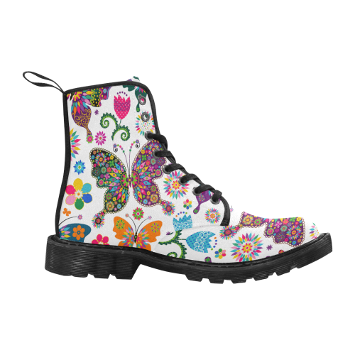 flowers and butterflies Martin Boots for Women (Black) (Model 1203H)