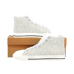 White 3D Geometric Pattern Men's Classic High Top Canvas Shoes /Large Size (Model 017)