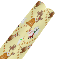 "Christmas Gingerbread Snowman and Santa Claus Yellow Gift Wrapping Paper 58""x 23"" (2 Rolls)"