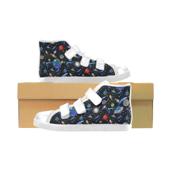Galaxy Universe - Planets, Stars, Comets, Rockets Velcro High Top Canvas Kid's Shoes (Model 015)