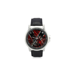 rebel motorcycle Unisex Stainless Steel Leather Strap Watch(Model 202)