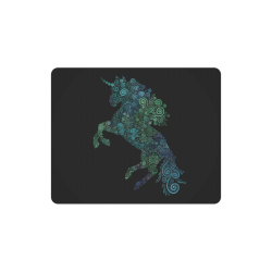 3D Psychedelic Unicorn blue and green Rectangle Mousepad