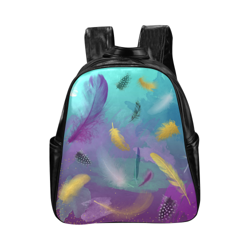 Dancing Feathers - Turquoise and Purple Multi-Pockets Backpack (Model 1636)