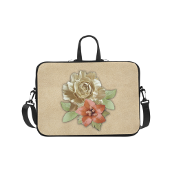 "Leather flower decor Laptop Handbags 17"""