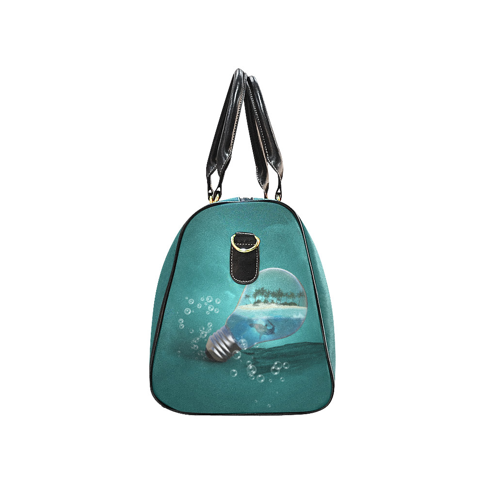 Awesome light bulb with island New Waterproof Travel Bag/Large (Model 1639)