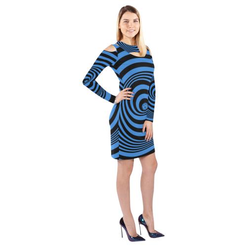 Blue Black Hurricane Cold Shoulder Long Sleeve Dress (Model D37)