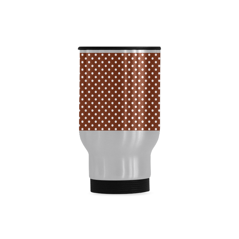 Brown polka dots Travel Mug (Silver) (14 Oz)