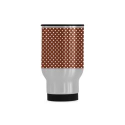 Brown polka dots Travel Mug (Silver) (14 Oz)