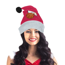 Basketball And Hoop on Red and Silver Santa Hat