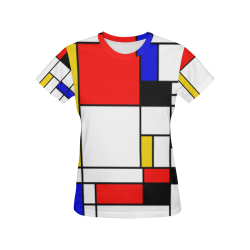 Bauhouse Composition Mondrian Style All Over Print T-Shirt for Women (USA Size) (Model T40)
