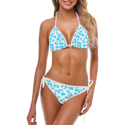 Blue on White Cheetah Custom Bikini Swimsuit (Model S01)