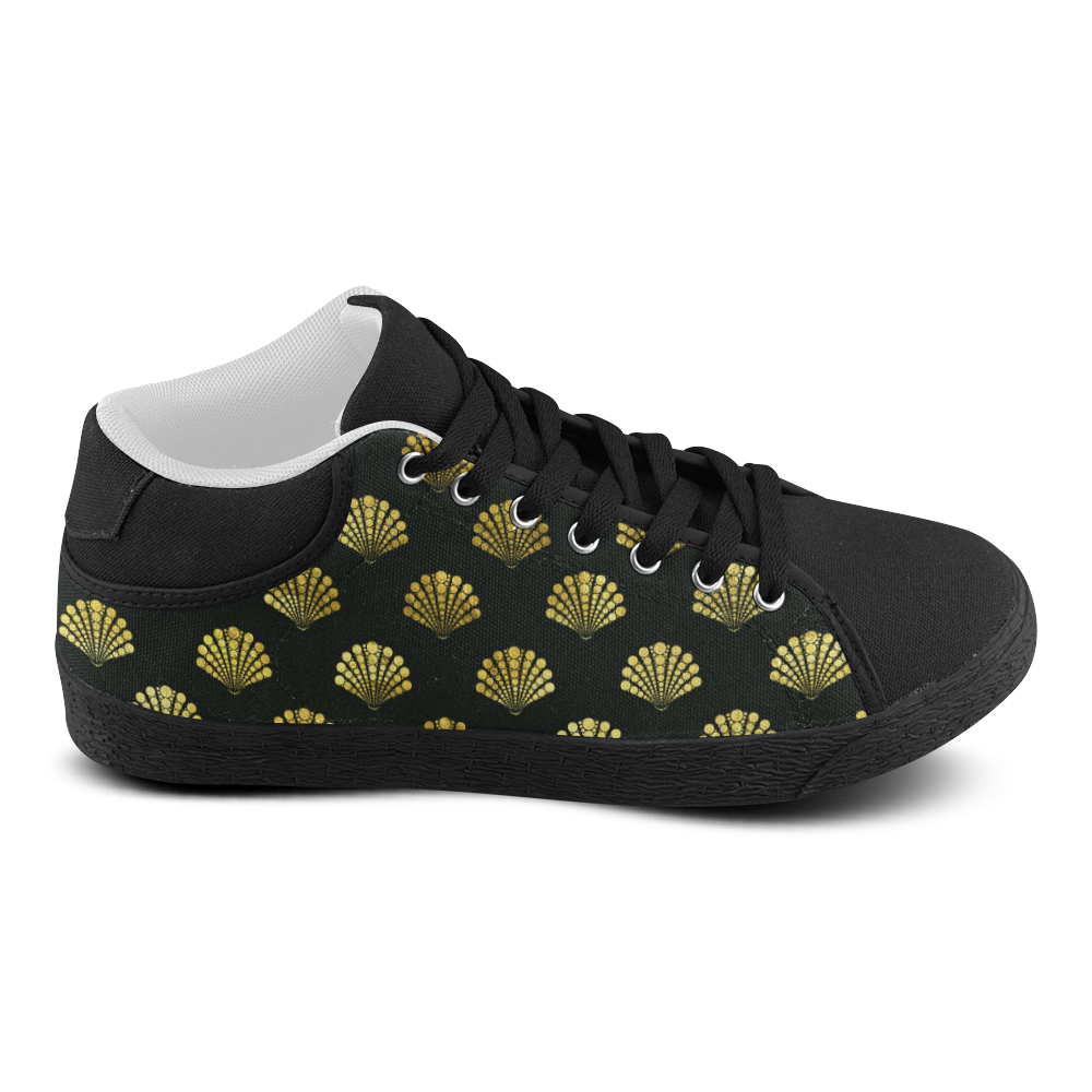 Wayden black and gold Men's Chukka Canvas Shoes (Model 003)