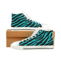 Ripped SpaceTime Stripes - Cyan High Top Canvas Women's Shoes/Large Size (Model 017)
