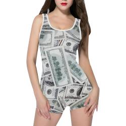 Cash Money / Hundred Dollar Bills  White Strap Classic One Piece Swimwear (Model S03)
